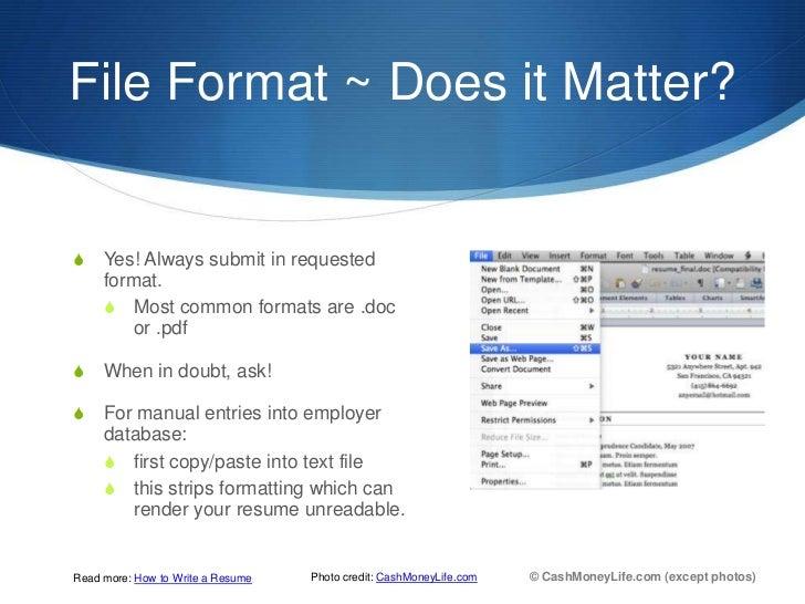 does resume format matter resume format