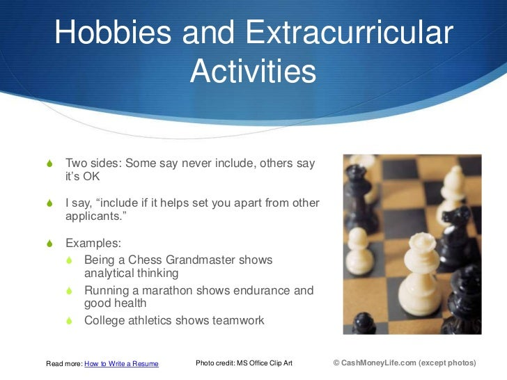 activities and hobbies for resume