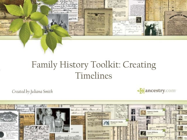 1 Family History Toolkit: Creating Timelines Created by Juliana Smith