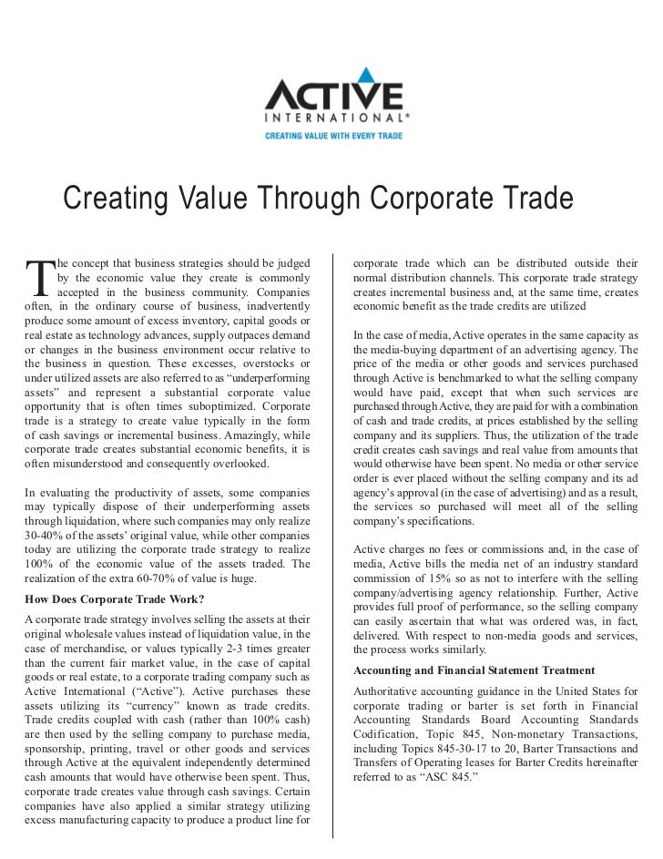 Creating Value Through Corporate Trade        he concept that business strategies should be judged      corporate trade wh...