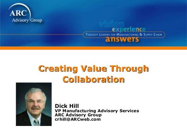 Creating Value Through Collaboration Dick Hill VP Manufacturing Advisory Services ARC Advisory Group crhill@ARCweb.com