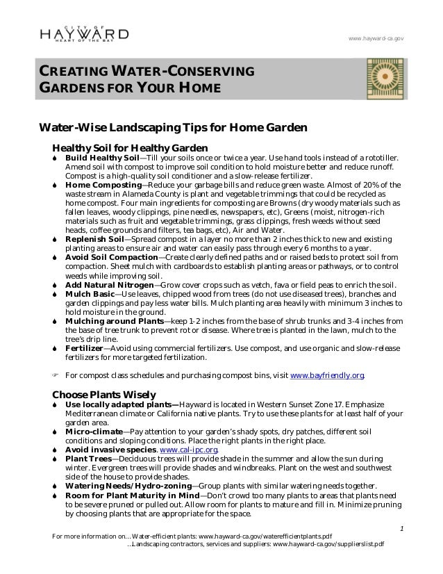 www.hayward-ca.govCREATING WATER-CONSERVINGGARDENS FOR YOUR HOMEWater-Wise Landscaping Tips for Home Garden  Healthy Soil ...