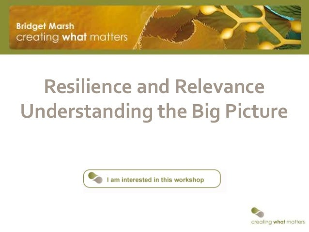 Resilience and RelevanceUnderstanding the Big Picture