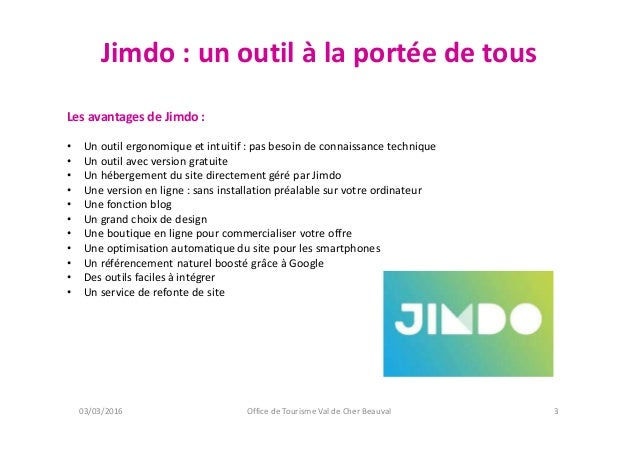 Atelier num rique creation d 39 un site interne sous jimdo office de tou - Office de tourisme saint aignan ...