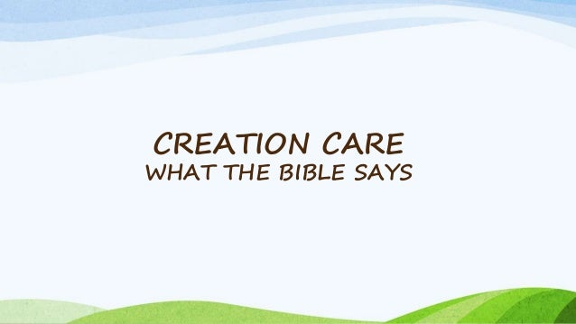 CREATION CARE WHAT THE BIBLE SAYS