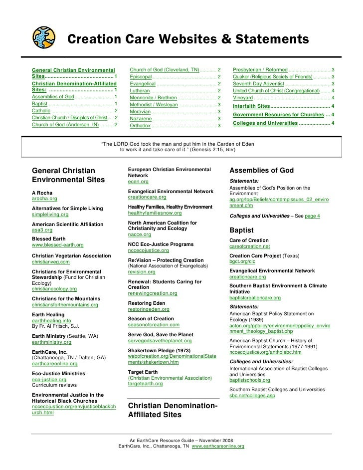 Creation Care Websites & StatementsGeneral Christian Environmental                                  Church of God (Clevela...