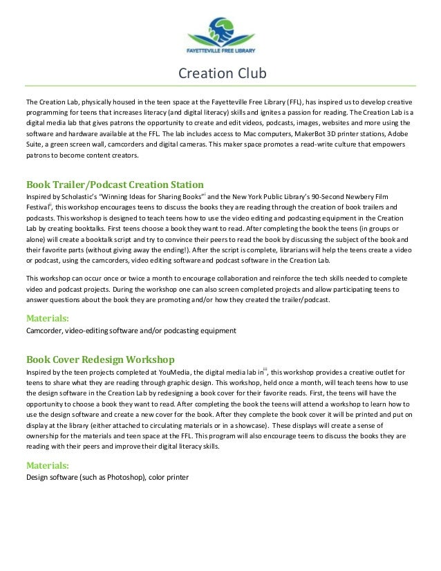 Creation Club The Creation Lab, physically housed in the teen space at the Fayetteville Free Library (FFL), has inspired u...
