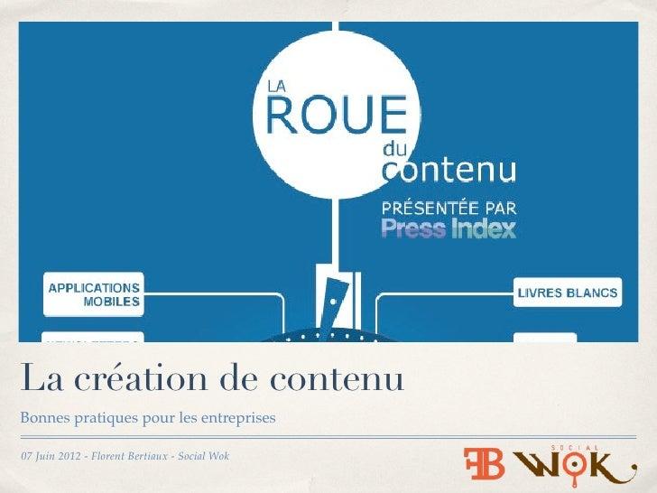 La création de contenuBonnes pratiques pour les entreprises07 Juin 2012 - Florent Bertiaux - Social Wok