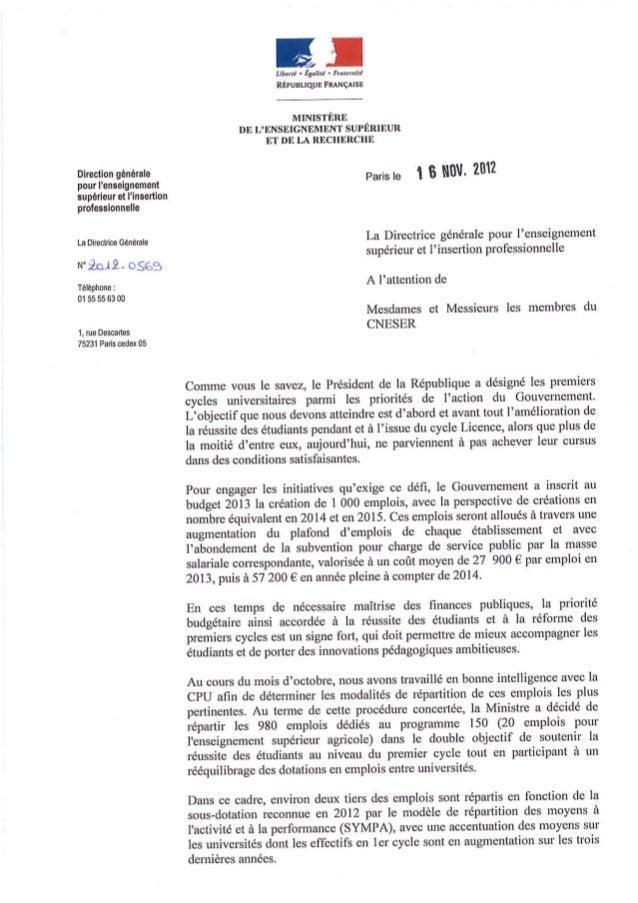 Création d'emplois 2013 - Circulaire MESR/DGESIP 16/11/2012