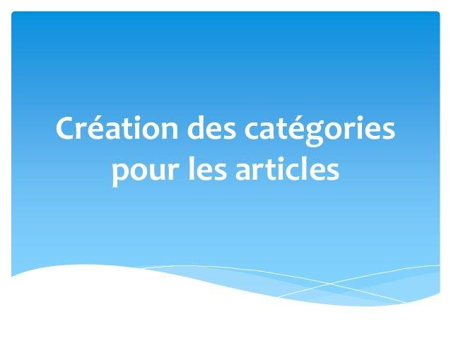 Création des catégories pour les articles