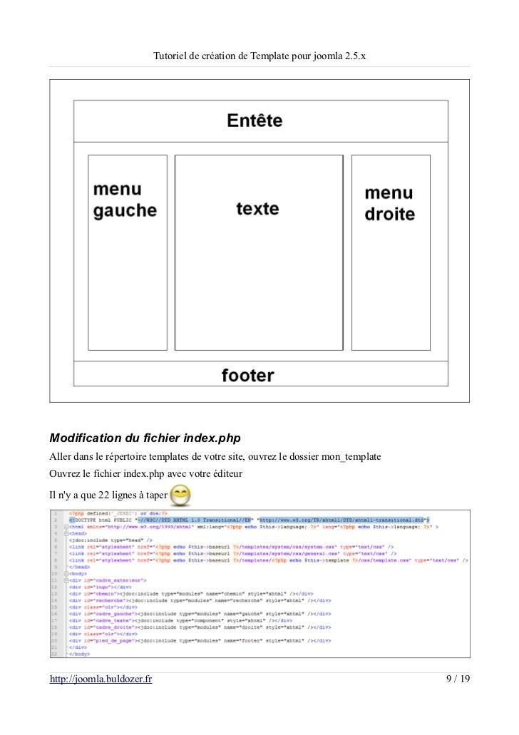 Tutoriel de création de Template pour joomla 2.5.xModification du fichier index.phpAller dans le répertoire templates de v...