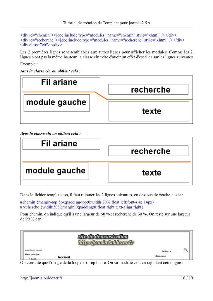 """Tutoriel de création de Template pour joomla 2.5.x<div id=""""chemin""""><jdoc:include type=""""modules"""" name=""""chemin"""" style=""""xhtml..."""