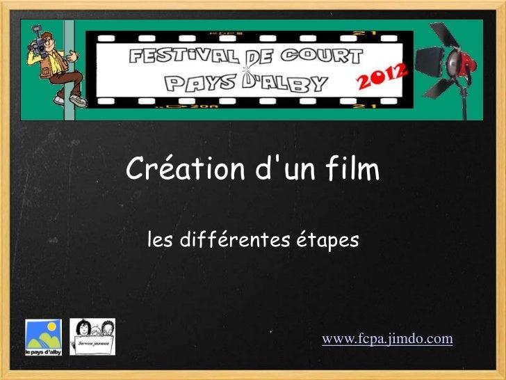Création dun film les différentes étapes                   www.fcpa.jimdo.com