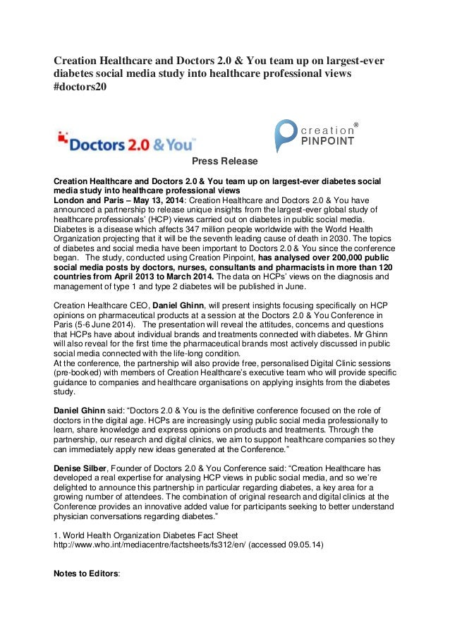 Creation Healthcare and Doctors 2.0 & You team up on largest-ever diabetes social media study into healthcare professional...