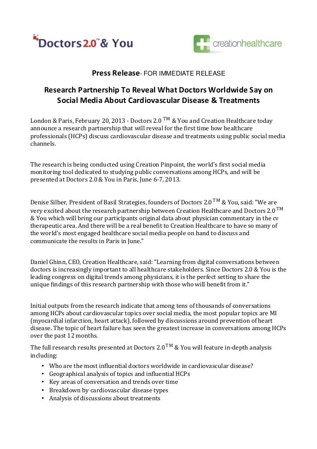 Press Release- FOR IMMEDIATE RELEASE        Research Partnership To Reveal What Doctors Worldwide Say on           Social ...