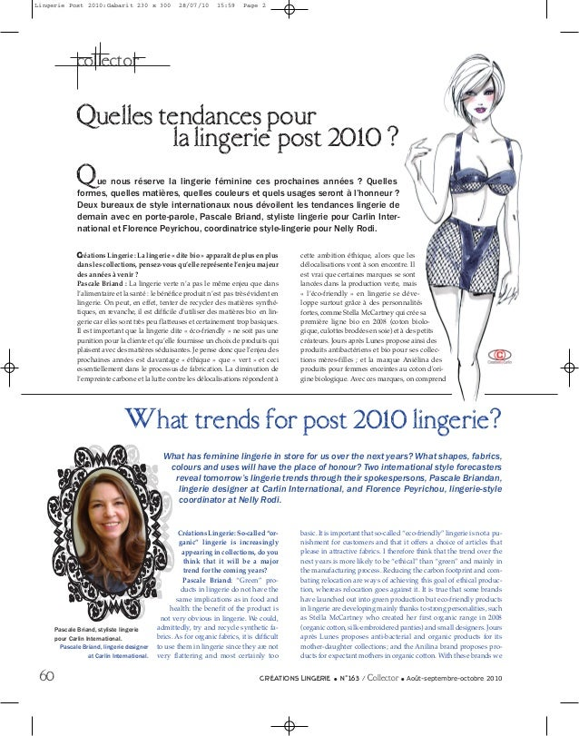Lingerie Post 2010:Gabarit 230 x 300  28/07/10  15:59  Page 2  collector  Quelles tendancesepour 2010 ? la lingeri post Q ...