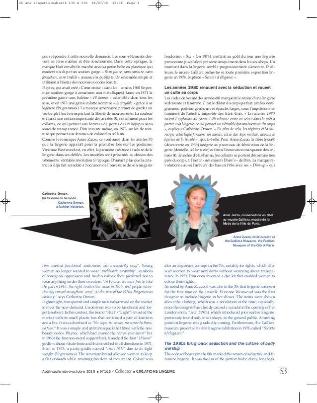 40 ans lingerie:Gabarit 230 x 300  28/07/10  15:36  Page 3  pour répondre à cette nouvelle demande. Les sous-vêtements doi...