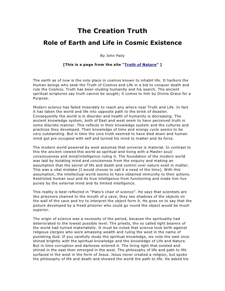 The Creation Truth      Role of Earth and Life in Cosmic Existence                                       By John Paily    ...