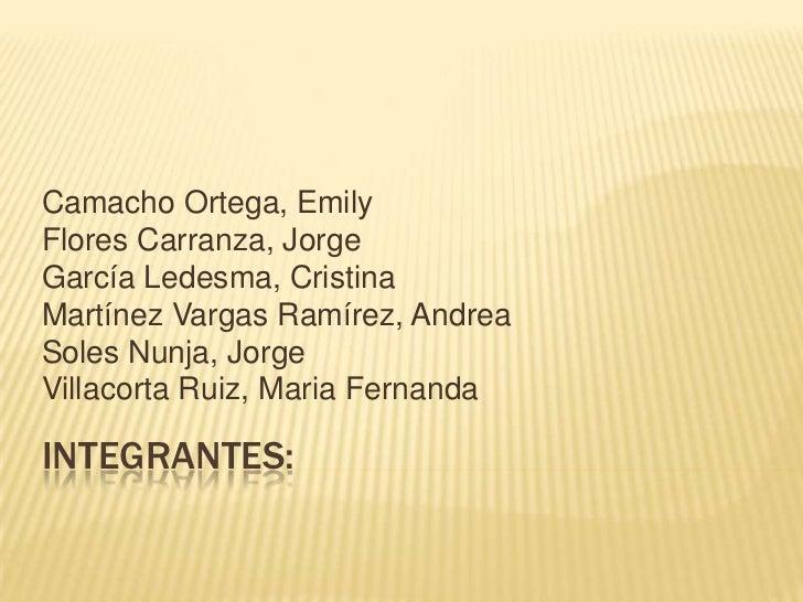 Camacho Ortega, EmilyFlores Carranza, JorgeGarcía Ledesma, CristinaMartínez Vargas Ramírez, AndreaSoles Nunja, JorgeVillac...