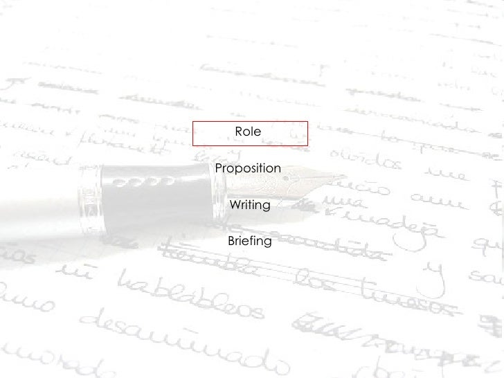 <ul><li>Role  </li></ul><ul><li>Proposition  </li></ul><ul><li>Writing </li></ul><ul><li>Briefing </li></ul>