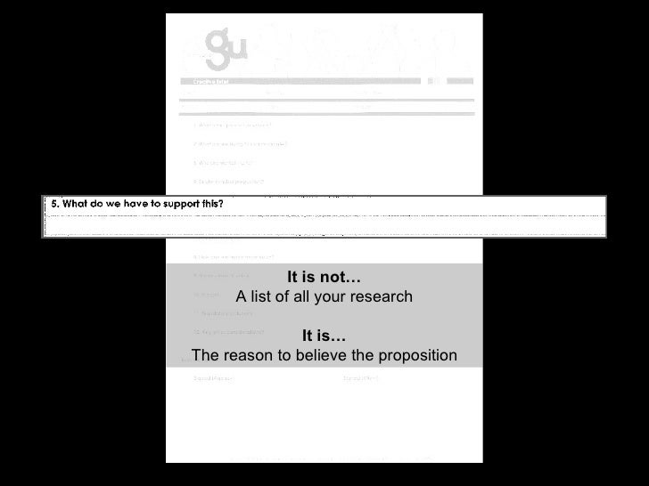 It is not… A list of all your research It is… The reason to believe the proposition