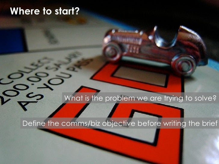 Where to start? What is the problem we are trying to solve? Define the comms/biz objective before writing the brief
