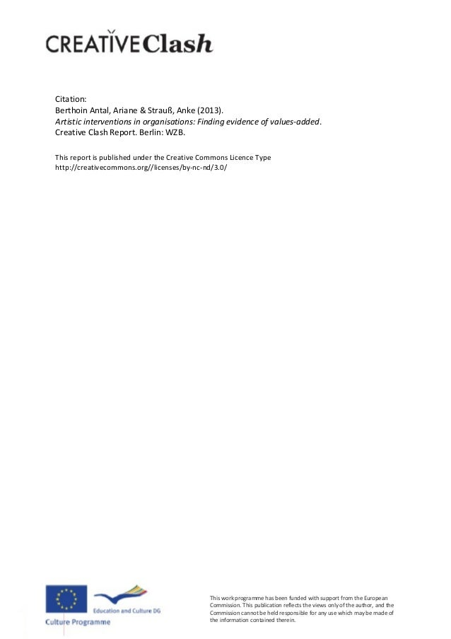 2Citation:BerthoinAntal,Ariane&Strauß,Anke(2013).Artisticinterventionsinorganisations:Findingevidenceofv...
