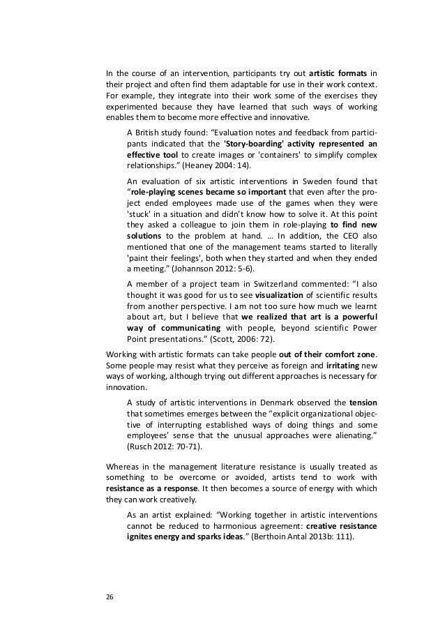 26Inthecourseofanintervention,participantstryoutartisticformatsintheirprojectandoftenfindthemadaptable...