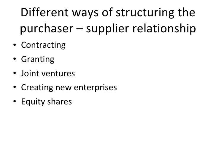Different ways of structuring the purchaser – supplier relationship <ul><li>Contracting </li></ul><ul><li>Granting </li></...