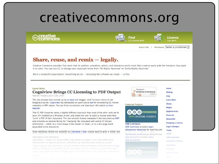 Creative Commons Presentation for the July 11, 2007 Yahoo ...