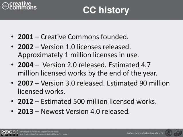 CreativeCommons licenses types and licensing