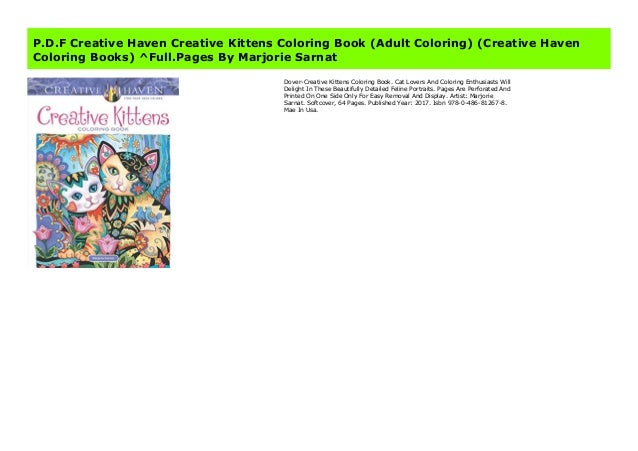 P D F Creative Haven Creative Kittens Coloring Book Adult Coloring