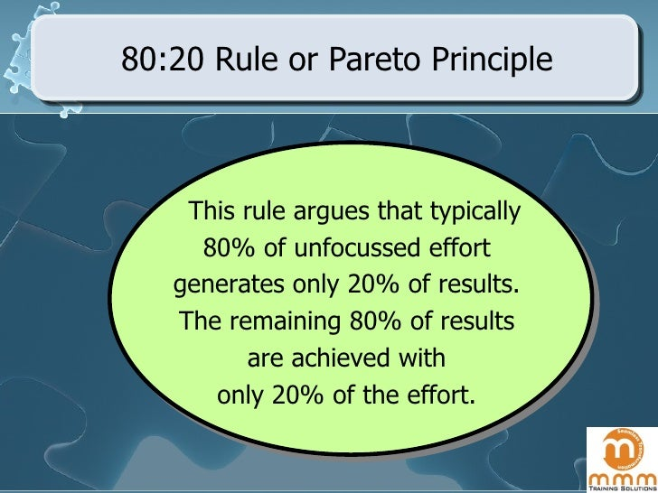 80:20 Rule or Pareto Principle This rule argues that typically  80% of unfocussed effort  generates only 20% of results.  ...
