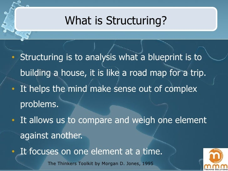 What is Structuring? <ul><li>Structuring is to analysis what a blueprint is to building a house, it is like a road map for...