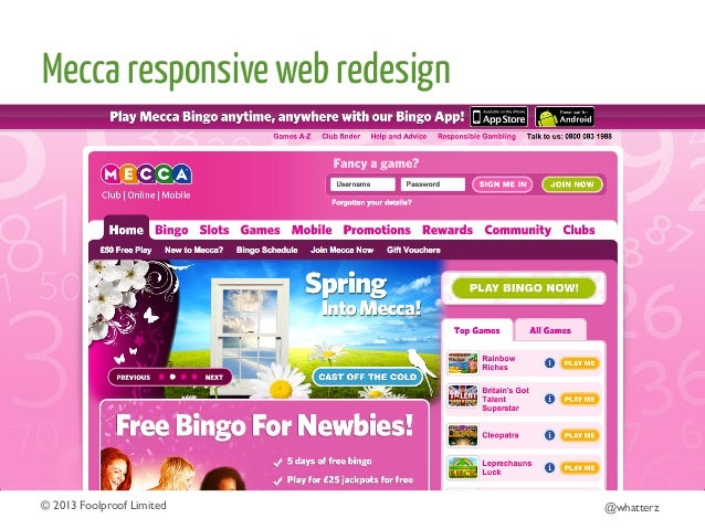 Mecca responsive web redesign  © 2013 Foolproof Limited   @whatterz