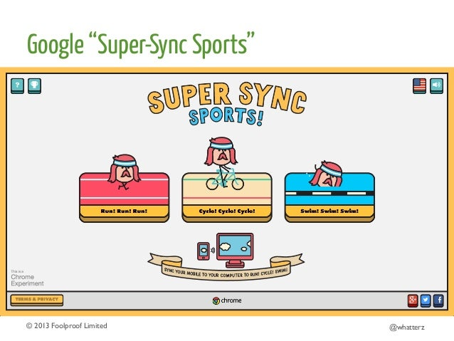 """Google """"Super-Sync Sports""""  © 2013 Foolproof Limited   @whatterz"""
