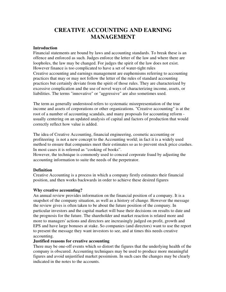 earning management essay In the study conducted by flora guidry, andrew j leone and steve rock (l997) entitled earnings-based bonus plans and earnings management by business unit managers.