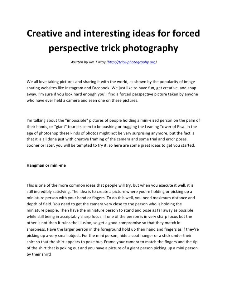 creative and interesting ideas for forced perspective trick photograp