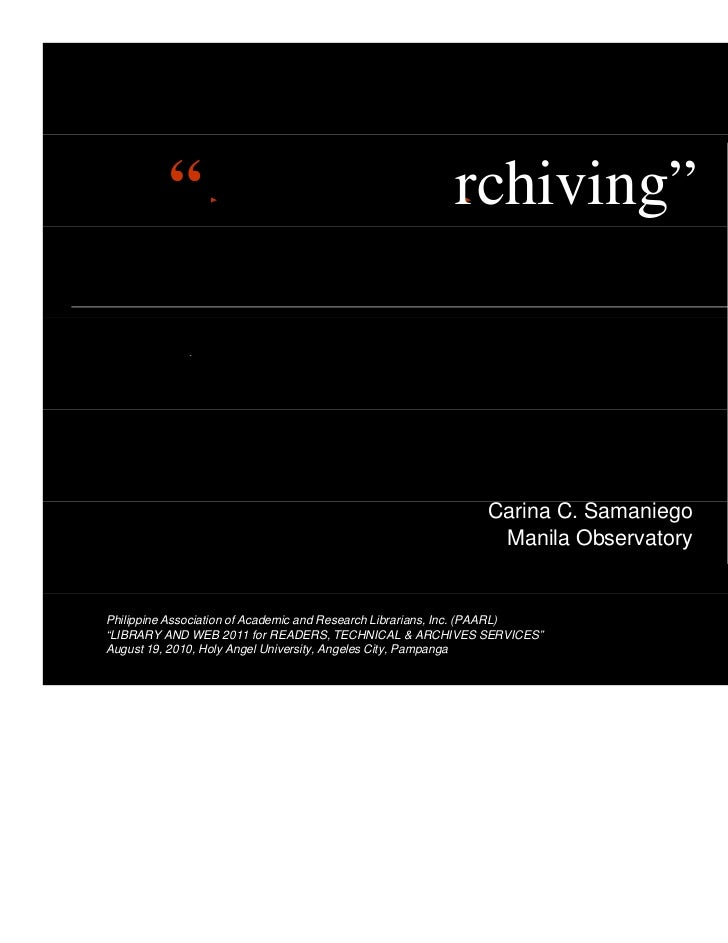 """C                                             Archiving""            I                                                    ..."