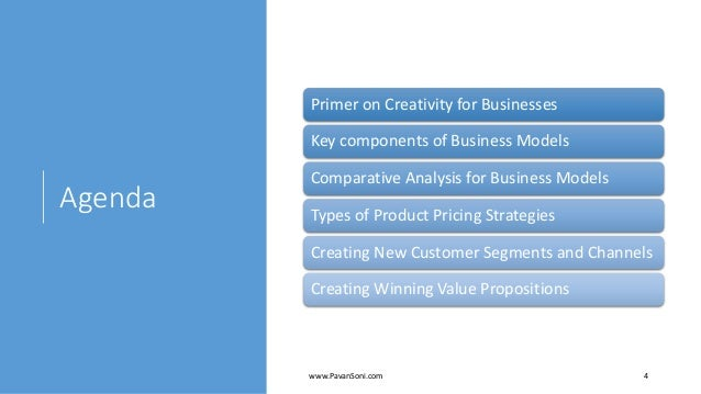 Agenda Primer on Creativity for Businesses Key components of Business Models Comparative Analysis for Business Models Type...