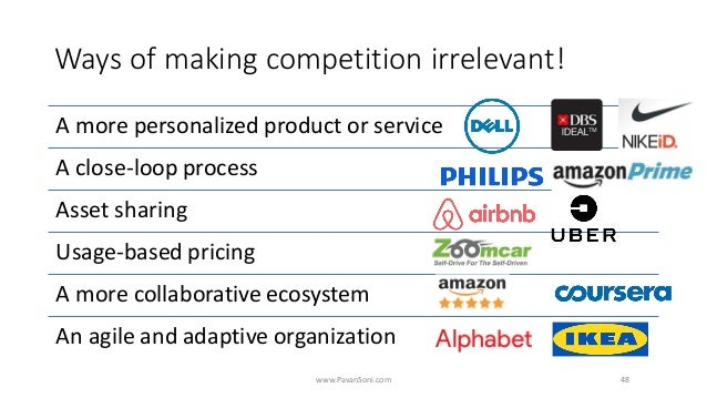 Ways of making competition irrelevant! A more personalized product or service A close-loop process Asset sharing Usage-bas...