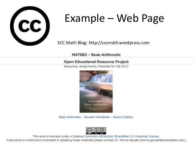 Example – Web Page SCC Math Blog: http://sccmath.wordpress.com