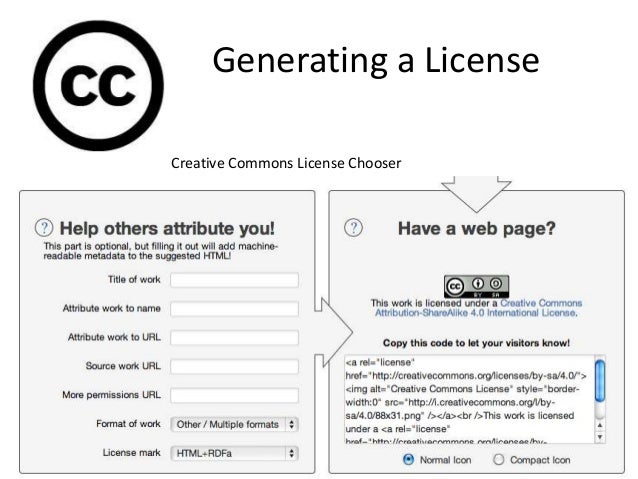 Generating a License Creative Commons License Chooser