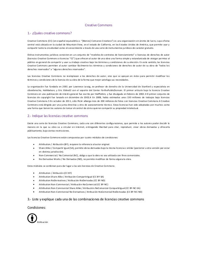 """Creative Commons 1.- ¿Quées creative commons? Creative Commons (CC) (en español equivaldría a: """"*Bienes+ Comunes Creativos..."""