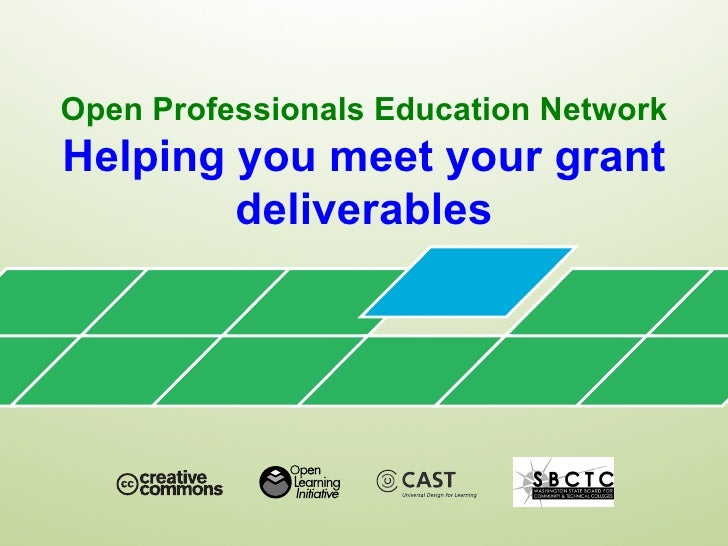 Open Professionals Education NetworkHelping you meet your grant        deliverables