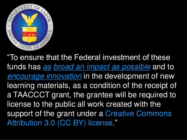 """""""To ensure that the Federal investment of these  funds has as broad an impact as possible and to  encourage innovation in ..."""