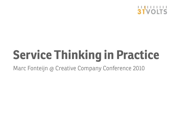 Service Thinking in Practice