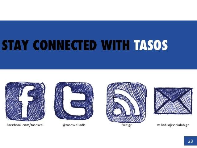 STAY CONNECTED WITH TASOS 23   Facebook.com/tasosvel   @tasosveliadis   Suit.gr   veliadis@socialab.gr