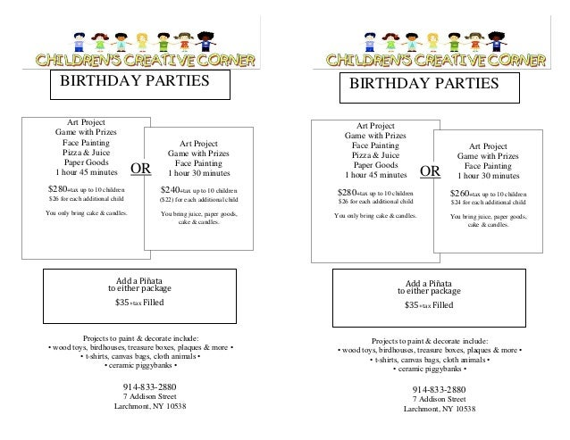 BIRTHDAY PARTIES Art Project Game with Prizes Face Painting Pizza & Juice Paper Goods 1 hour 45 minutes  Art Project Game ...