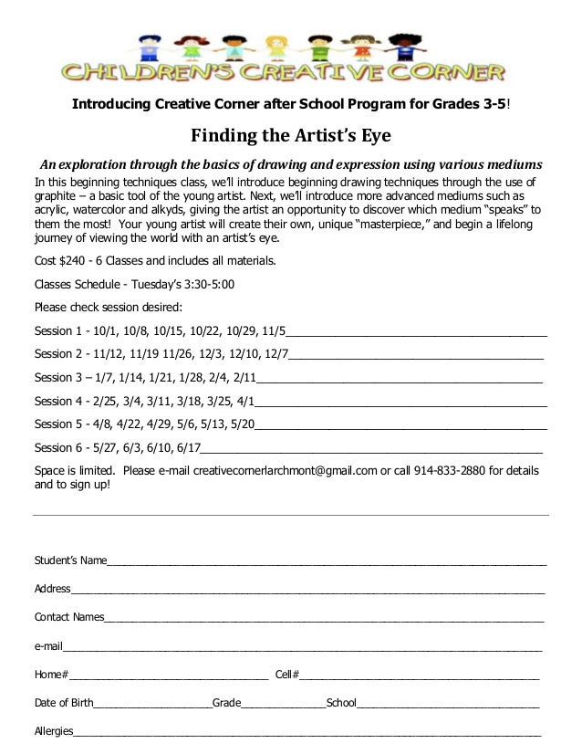 Introducing Creative Corner after School Program for Grades 3-5!  Finding the Artist's Eye An exploration through the basi...